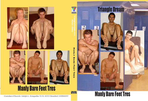 Nick Baer presents six nude male models, showing off their bare feet, ...